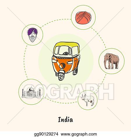 Eps Illustration Famous India Symbols Doodle Vector Concept