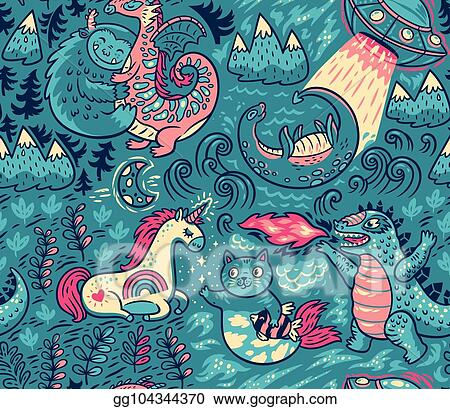 vector illustration fantastic creatures animal pattern vector