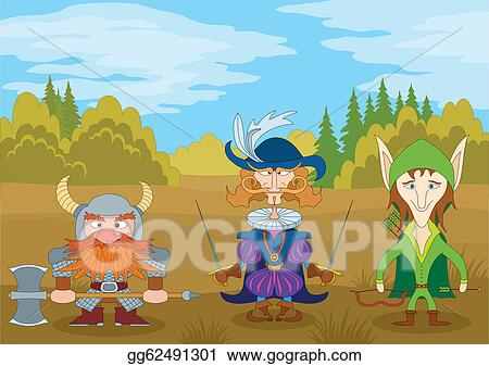 Clip Art Vector Fantasy Heroes In Forest Stock Eps