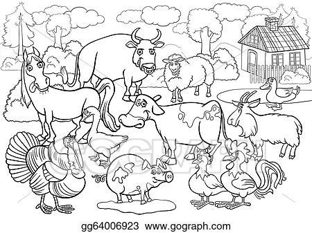 Vector Stock - Farm animals cartoon for coloring book. Clipart ...