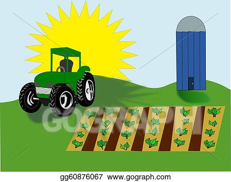 drawing farm scene clipart drawing gg60876067 gograph rh gograph com Empty Farm Crop Clip Art Wagon with Farm Crops Clip Art