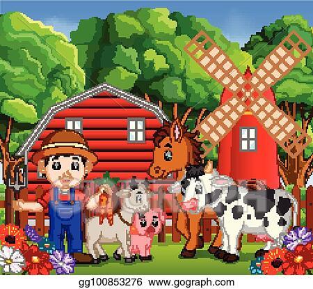 Farm animal and barn clipart cute cartoon baby farm animals   Etsy