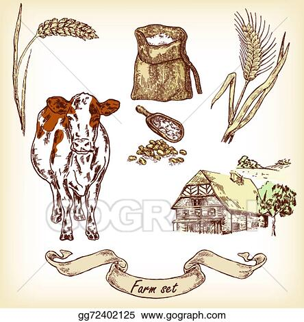 Hand Drawn Illustration Of Cow House Sack Grain Me