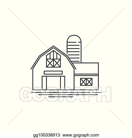 Farmhouse Barn Line Icon Outline Ilration Of Horse Vector Linear Design Isolated On White Background Farm Logo Template Element For Farming
