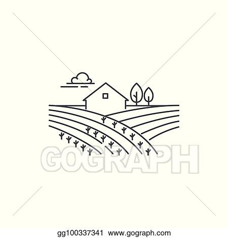 Farmhouse On The Field Line Icon Outline Ilration Of Landscape Vector Linear Design Isolated White Background Farm Logo Template Element For