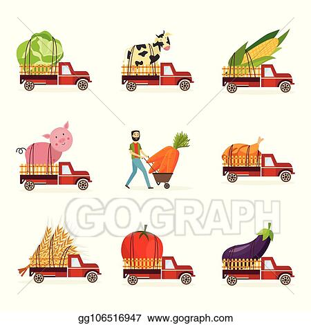 Vector Stock - Farming harvest and delivery of fresh organic