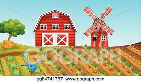 eps illustration farmland with crops on the farm vector clipart rh gograph com Farm Crops Clip Art Black and White Crop Field Clip Art