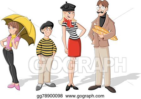 vector stock fashion french cartoon family clipart illustration rh gograph com French Beret Clip Art French Icons Clip Art