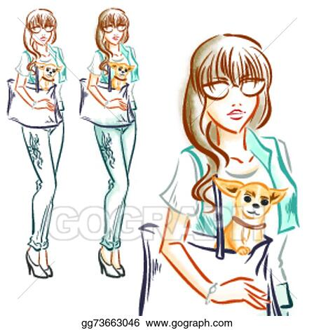 vector art fashion girl with little dog chihuahua clipart drawing