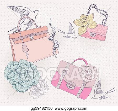 eps vector fashion handbags purses background stock clipart rh gograph com Purse Template Clip Art Coach Purse Clip Art