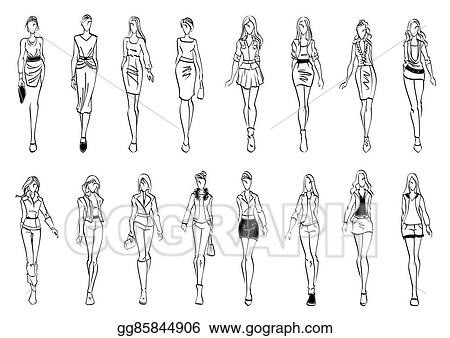46cde8ab6c762 EPS Vector - Fashion models shows everyday outfits sketch icons ...