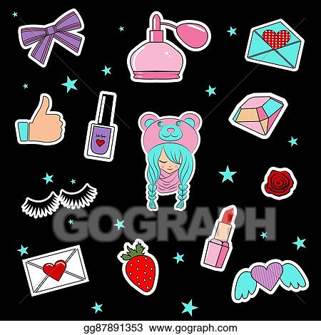 EPS Vector - Fashion patch badges with lips, hearts, cute girl and