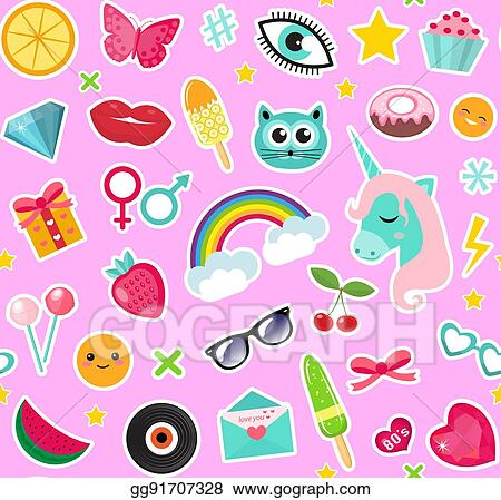 Vector Clipart Fashion Seamless Pattern Of Patches 80s Comic Style