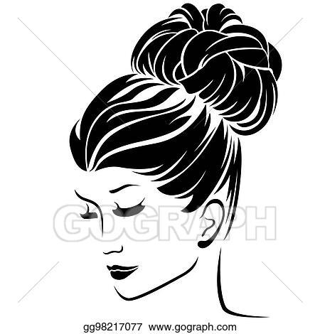 Eps Illustration Fashion Women With Bun Hairstyle Hair Vector