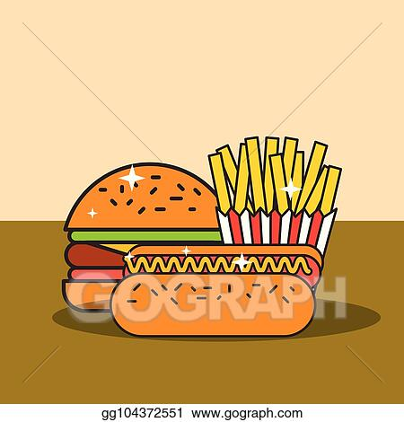 Vector Art Fast Food Burger Hot Dog And French Fries Clipart