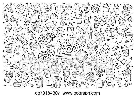 Vector Clipart Fast Food Doodles Hand Drawn Sketchy Vector Symbols