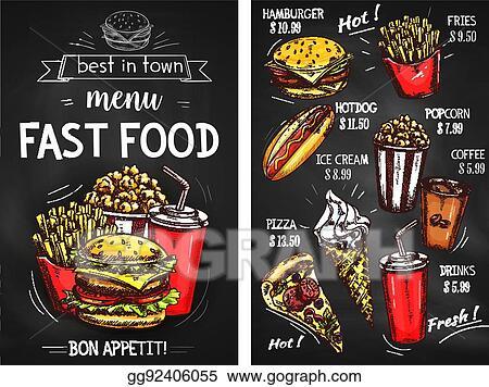 Vector Illustration Fast Food Menu Price Vector Sketch Template