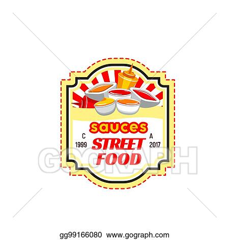 Vector Illustration Fast Food Sauce Label Of Ketchup And Mustard