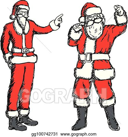 53278acef6e Fat and thin santa claus vector illustration sketch hand drawn with black  lines isolated on white background
