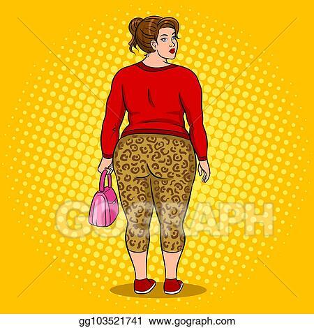 b6da72070fa64 Vector art fat girl in leopard leggings pop art vector clipart jpg 450x470 Leggings  clipart girls