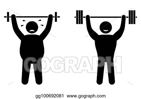 Clip Art Vector Fat Man And Strong Sportsman Fitness Training Body Building Healthy Training Stock Eps Gg100692081 Gograph