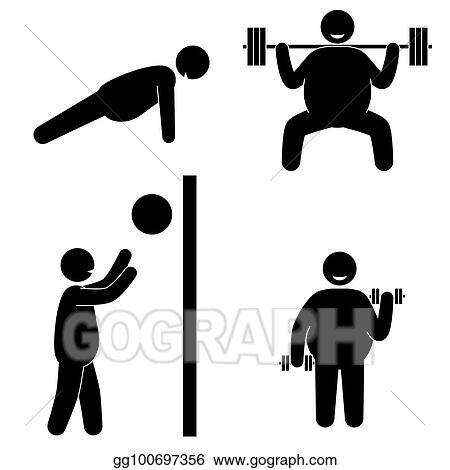Vector Clipart Fat Man Fitness Training Body Building Healthy Training Vector Illustration Gg100697356 Gograph