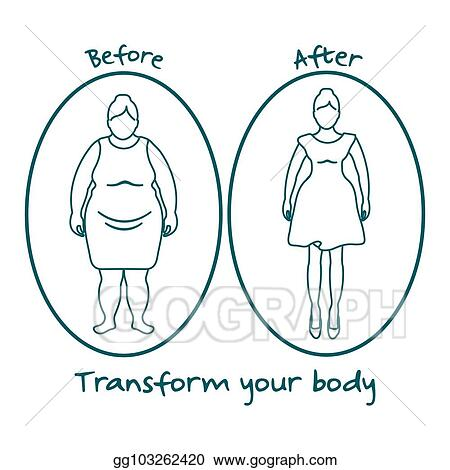 Vector Stock Fat Woman And Shapely Woman Transform Your Body Clipart Illustration Gg103262420 Gograph