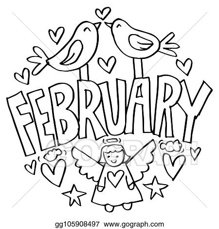 Vector Illustration - February coloring pages for kids ...