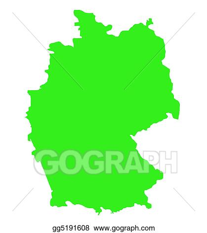 Drawings Federal Republic Of Germany Map Outline Stock - Germany map outline