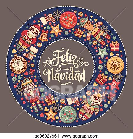 Eps Vector Feliz Navidad Xmas Card On Spanish Language Warm