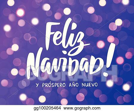 Hand sketched Feliz Navidad (Happy New Year in spanish) logotype, badge and  icon typography with christmas wreath Clipart | k32804314 | Fotosearch