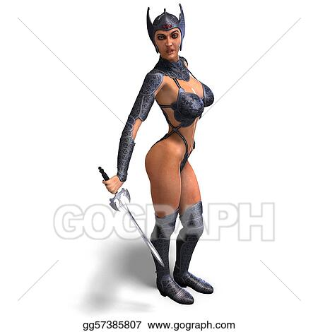 Stock Illustration - Female amazon warrior with sword and