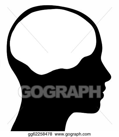 drawings female head silhouette with brain area stock