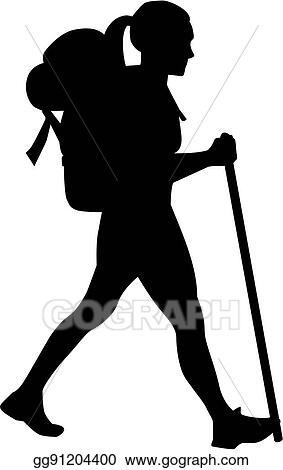vector stock female hiker clipart illustration gg91204400 gograph rh gograph com hiker clipart black and white Hiker Silhouette Clip Art