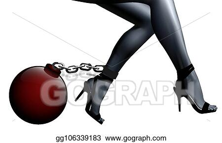 b54be6e2ea6 EPS Vector - Female legs in chains and shackles. Stock Clipart ...