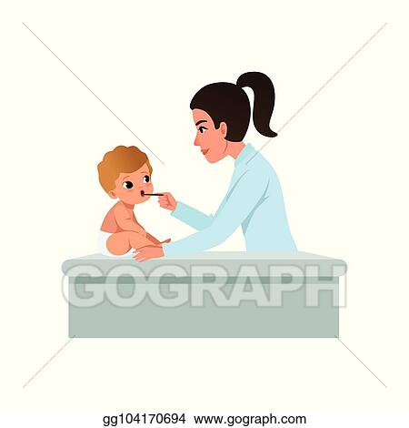 077aee0de Vector Stock - Female pediatrician in white coat looking at infant ...