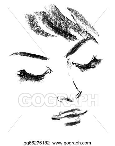 Drawings - Female silhouette  portrait of beautiful girl