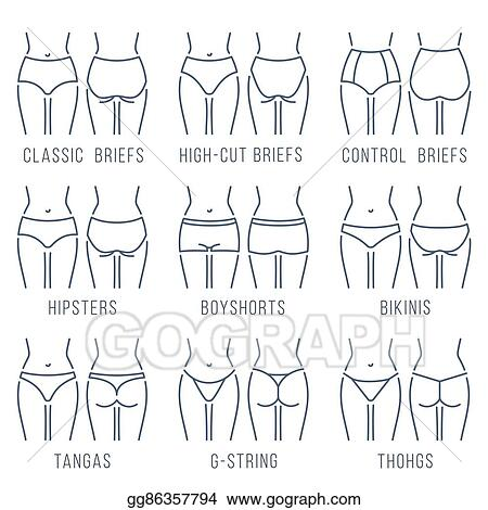 dd9fff7455 Vector Art - Female underwear panties types thing line vector icons ...