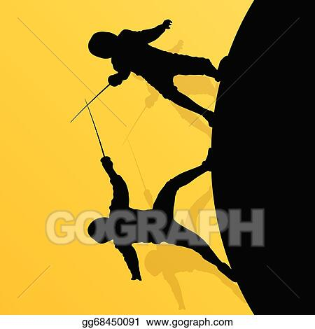 Vector Art - Fencing active young teenager sword fighting sport
