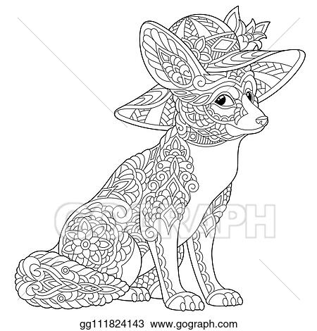 Clip Art Vector Fennec Fox Coloring Page Stock Eps