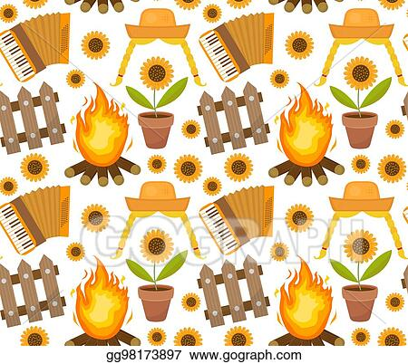 Vector Stock Festa Junina Seamless Pattern Brazilian Latin