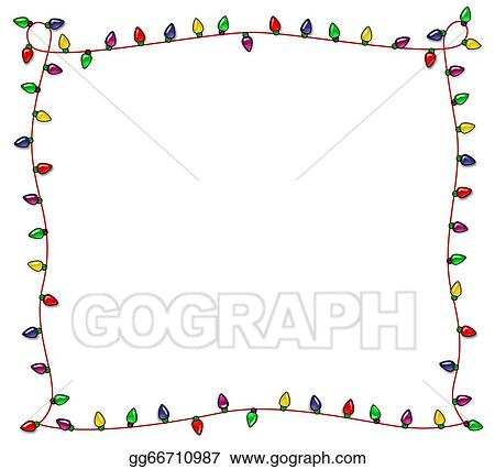 Festive Christmas Lights Frame - Drawings - Festive Christmas Lights Frame. Stock Illustration