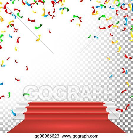 Festive Stage Podium Scene Vector Falling Confetti Explosion Red Circle Award Transparent Background Illustration