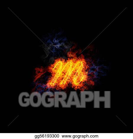 Clip Art Fiery Elegant Script Letter Lower Case M Stock