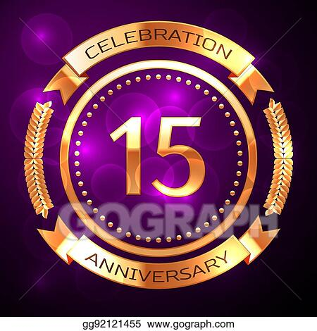 Clip Art Vector Fifteen Years Anniversary Celebration With Golden