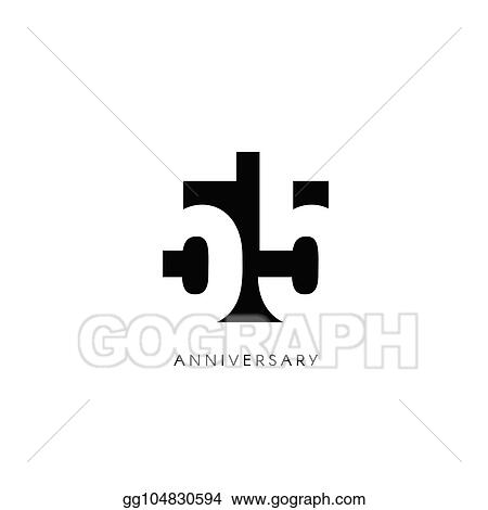 Vector Illustration Fifty Five Anniversary Minimalistic Logo