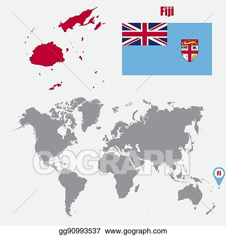 Vector Art Fiji Map On A World Map With Flag And Map