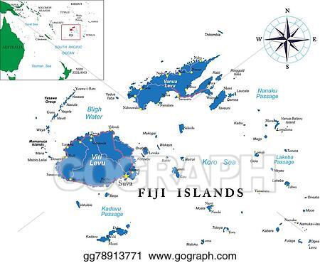 EPS Vector - Fiji map. Stock Clipart Illustration gg78913771 ...
