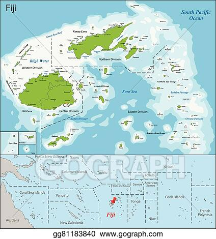 Eps Vector Fiji Map Stock Clipart Illustration Gg81183840