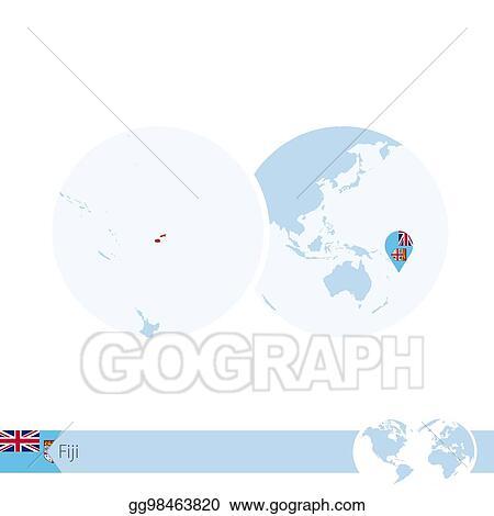 Vector Art - Fiji on world globe with flag and regional map ...